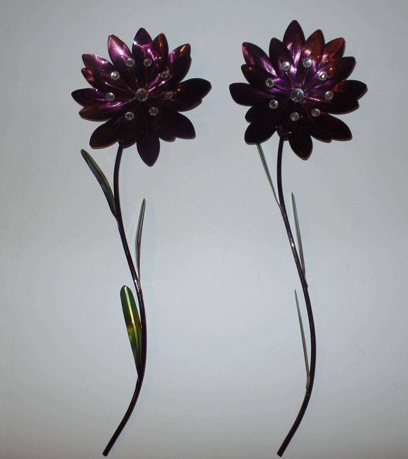 Decorative Metal Flowers Wall Sculpture Art Home Décor (set Of 2 Pertaining To Current Purple Flower Metal Wall Art (View 18 of 25)