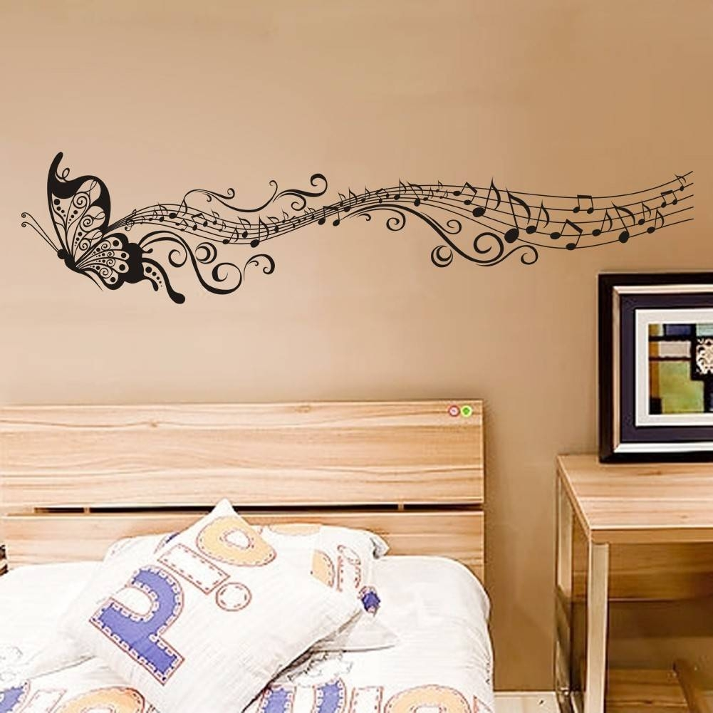 Decorative Music Butterfly Wall Stickers Wall Art Decal In Most Recent Music Note Art For Walls (View 7 of 25)