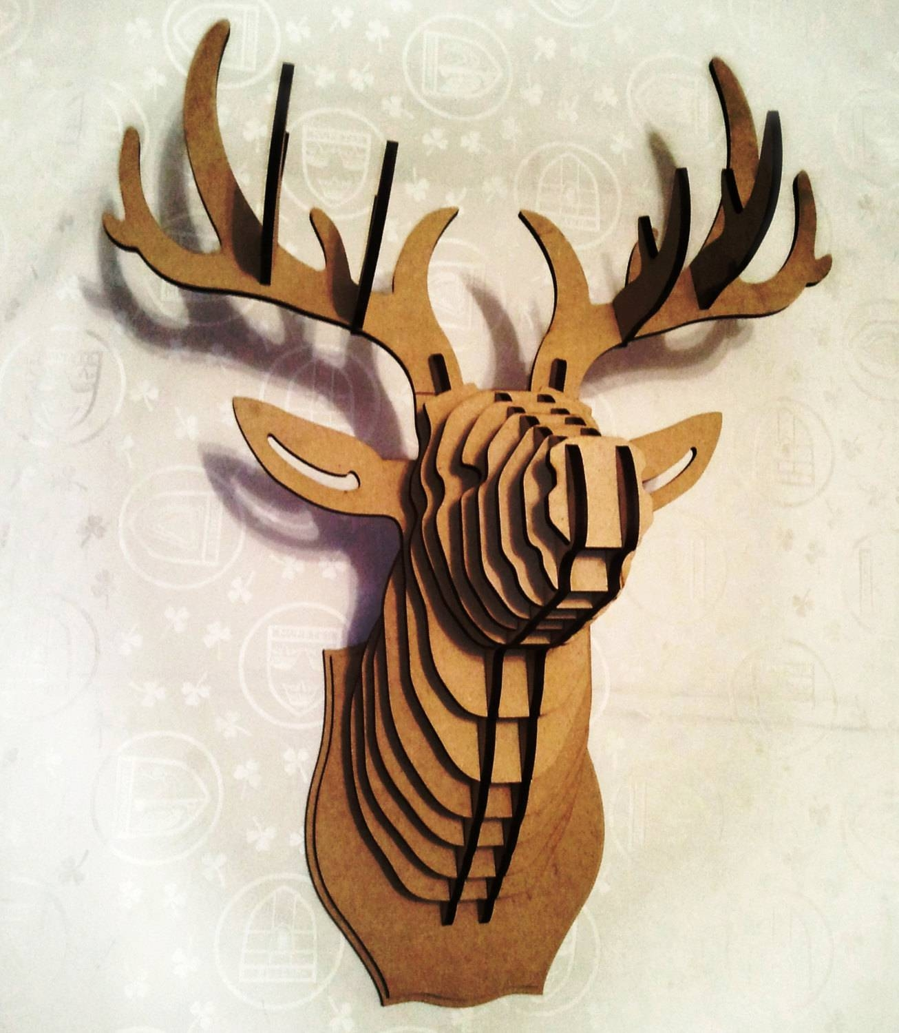 Deer Head 3D Puzzle Animal Head Cardboard Animal Head Mdf Deer Throughout 2017 Stag Head Wall Art (View 5 of 20)