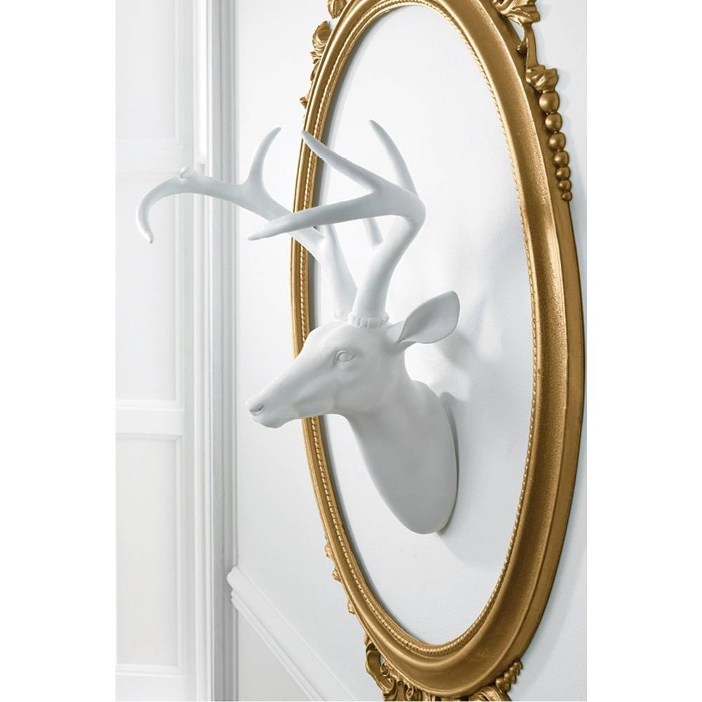Deer Stag Head Decorative Mounted Resin Wall Art White 008151 Throughout Most Popular Stag Head Wall Art (View 20 of 20)