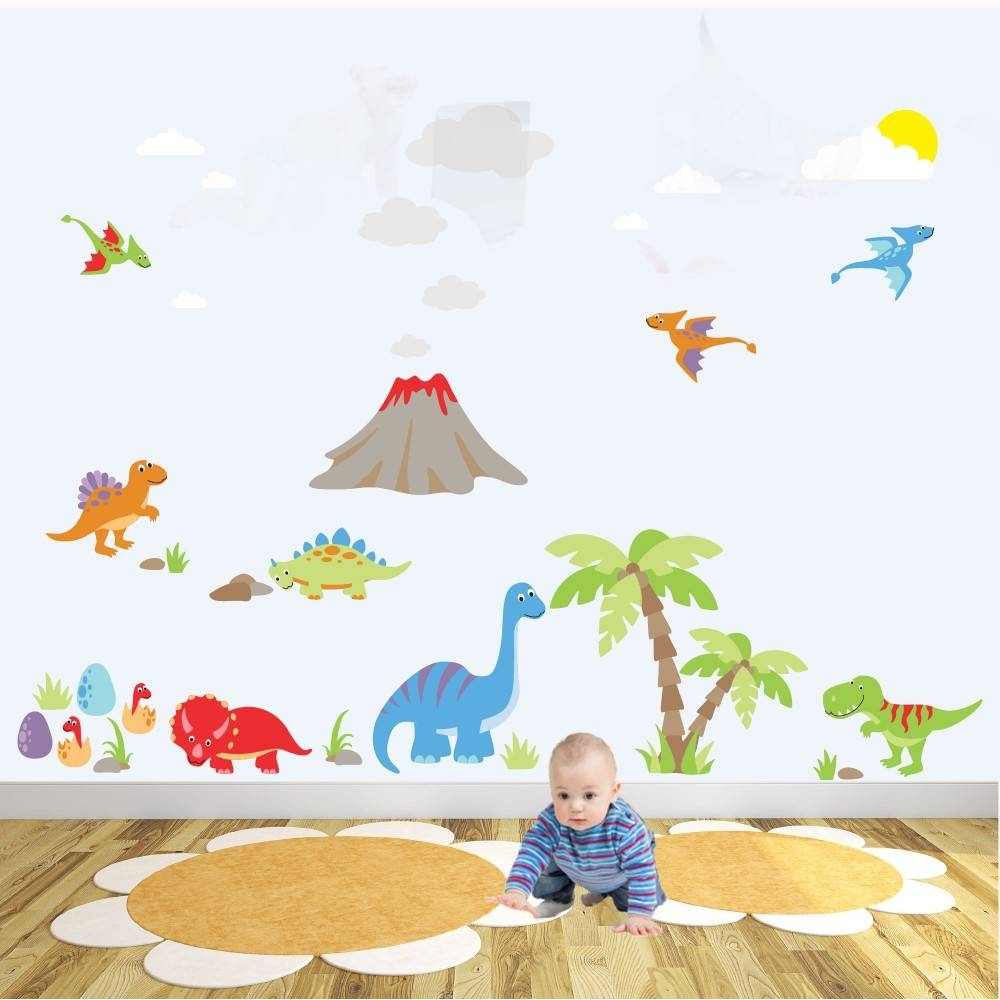 Deluxe Dinosaur Nursery Wall Art Sticker Scene Throughout Most Up To Date Dinosaur Wall Art For Kids (View 8 of 20)