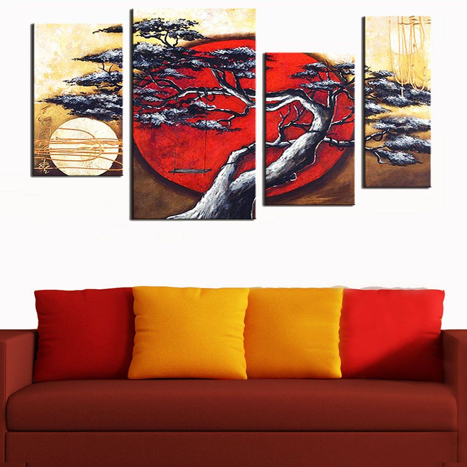Design Art Japanese Tree Wall Art Painting On Canvas 40 X 32 – 4 Regarding Newest Japanese Wall Art Panels (View 24 of 25)