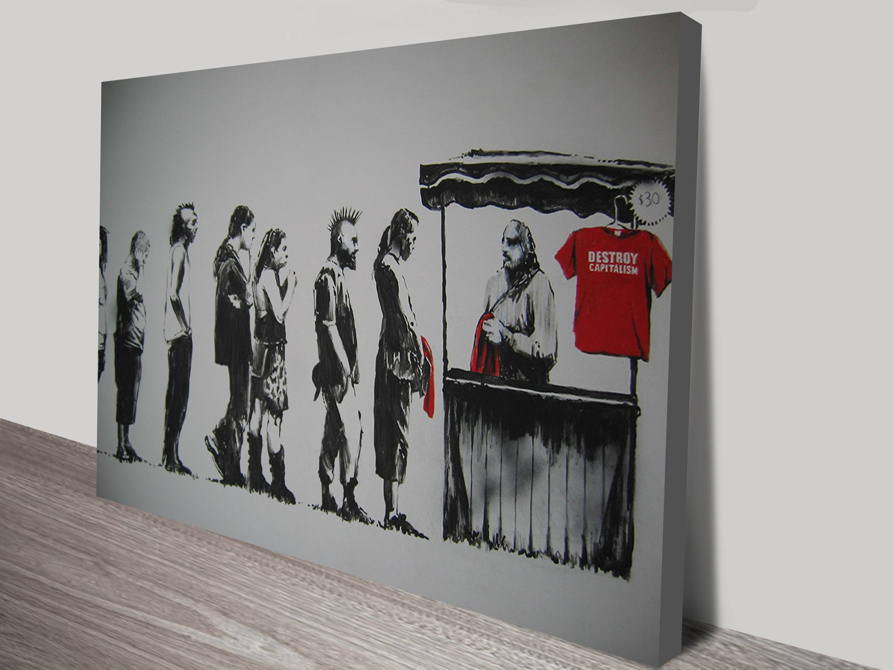Destroy Capitalism Canvas Wall Art Australia For 2018 Banksy Wall Art Canvas (View 14 of 20)