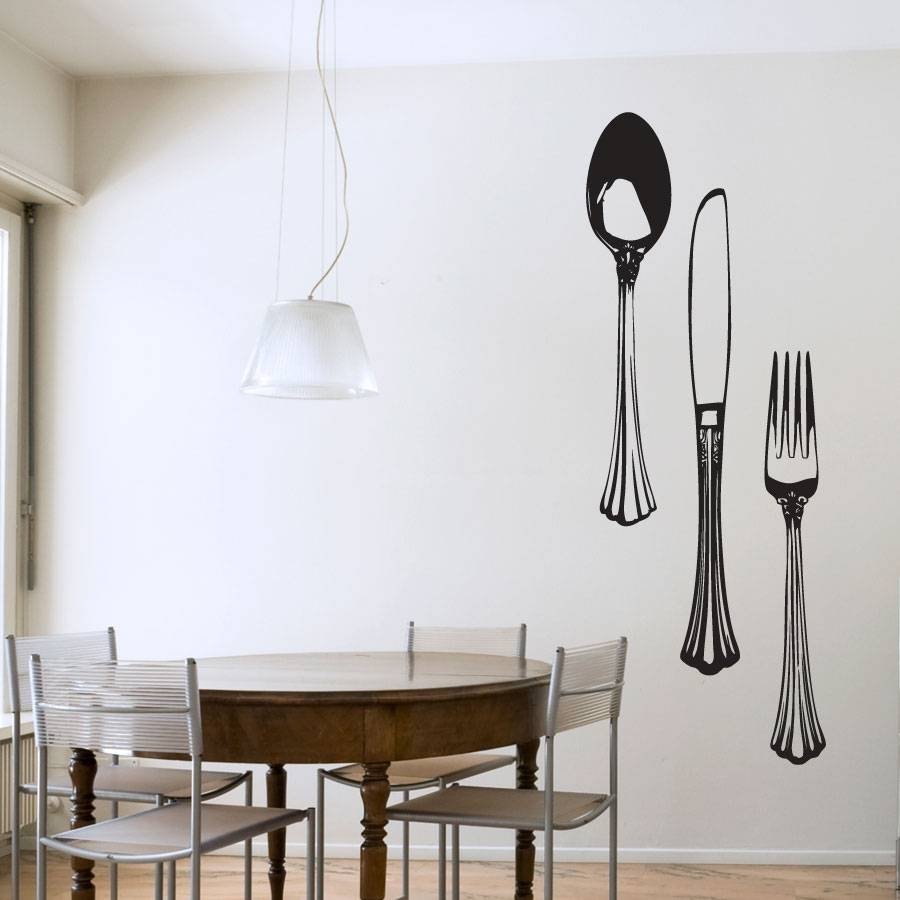 Dining Cutlery Set Wall Art Decals With Regard To Most Up To Date Dining Wall Art (View 4 of 25)