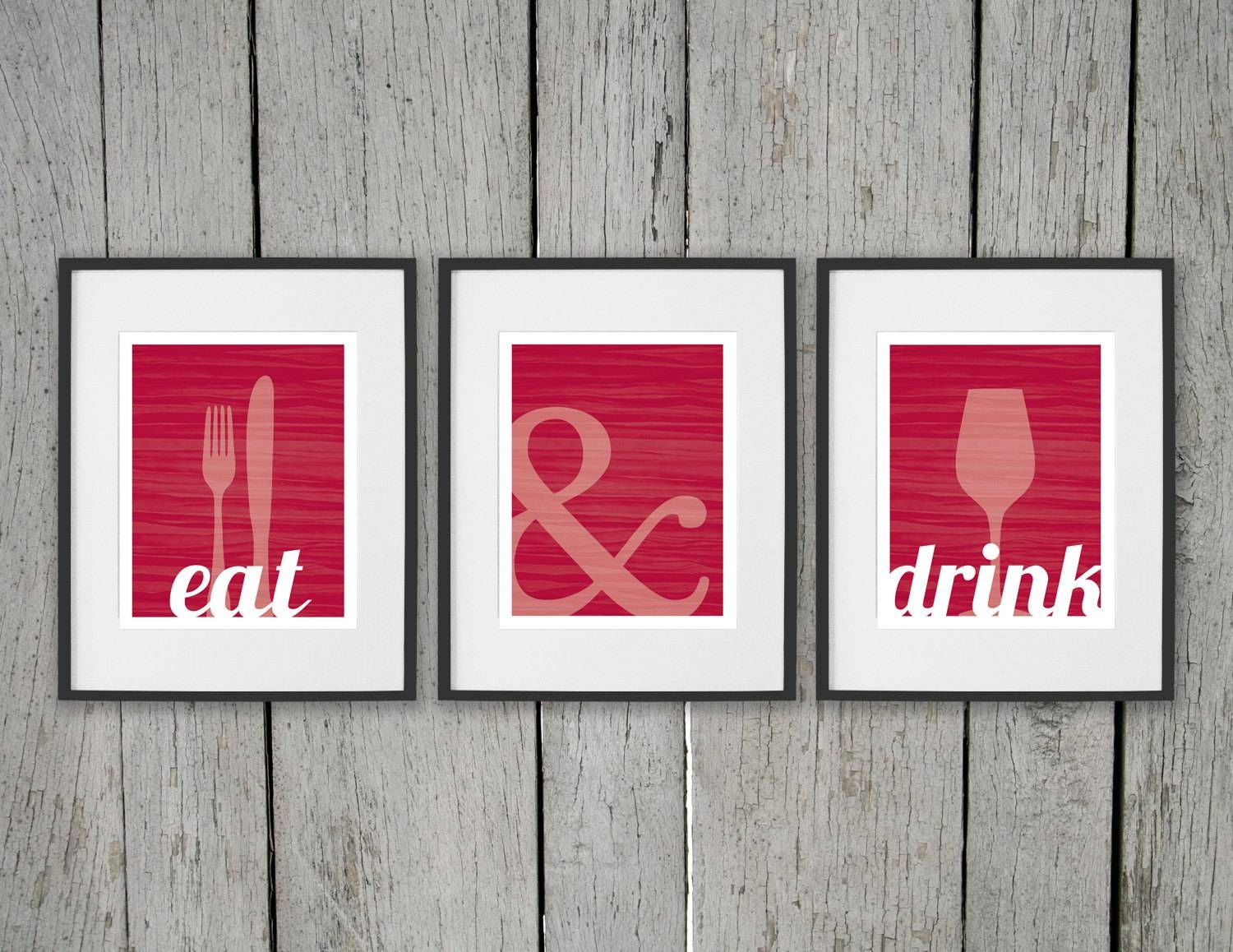 Dining Room Prints Wall Art Eat & Drink Fork Knife Spoon Pertaining To Recent Kitchen And Dining Wall Art (View 10 of 25)