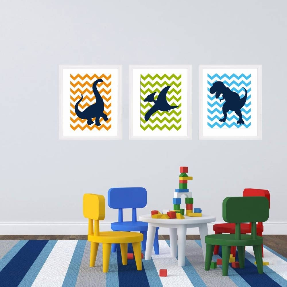 Dinosaur Cartoon Canvas Painting Nursery Wall Art Big Silhouette Throughout Most Up To Date Dinosaur Canvas Wall Art (View 10 of 15)