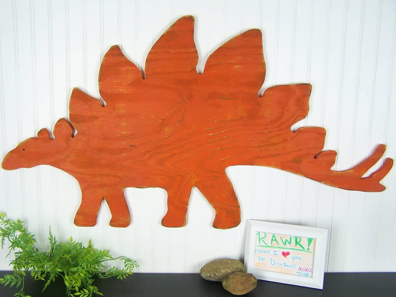 Dinosaur Decor Stegosaurus Orange Dinosaur Wall Art Rustic Regarding Best And Newest Dinosaur Wall Art For Kids (Gallery 19 of 20)