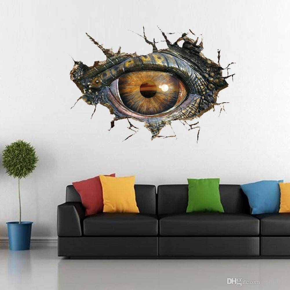 Dinosaur Eyes 3D Wall Stickers Creative Personality Sitting Room Intended For Most Current Dinosaurs 3D Wall Art (Gallery 9 of 20)