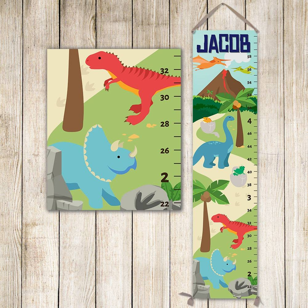 Dinosaur Growth Chart, Dinosaurs Height Chart, Dinosaur Nursery For Most Popular Dinosaur Wall Art For Kids (View 11 of 20)