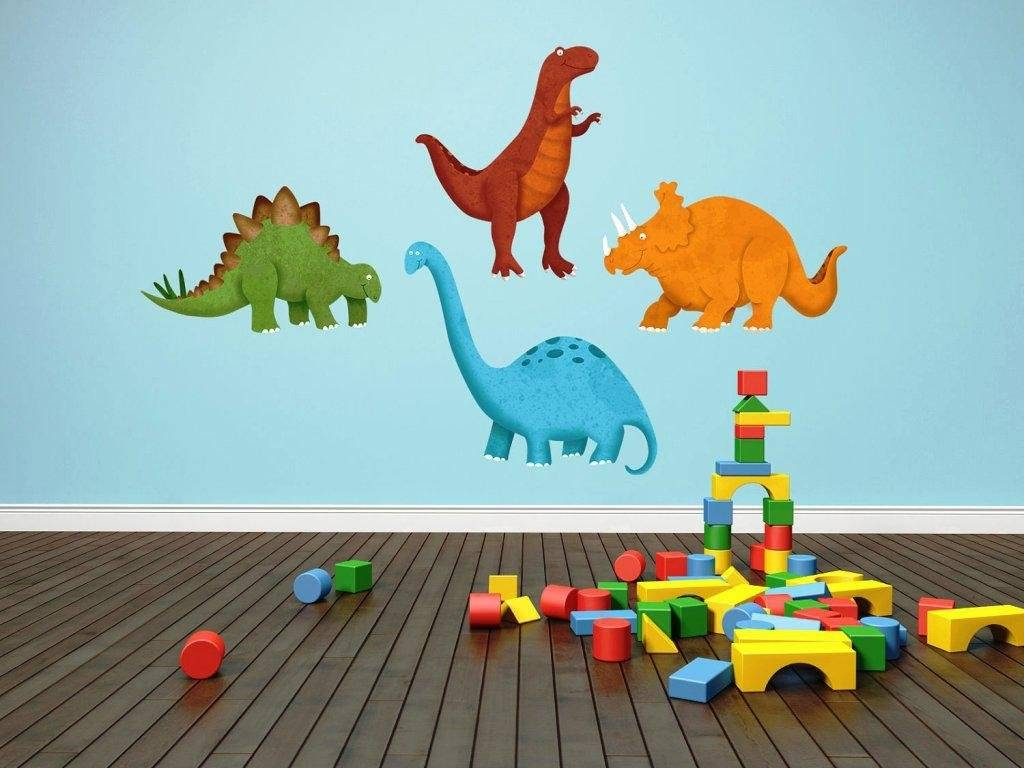 Dinosaur Nursery Girl Decals For Walls Bedroom Ideas Canvas Wall Within Most Current Dinosaur Canvas Wall Art (View 11 of 15)
