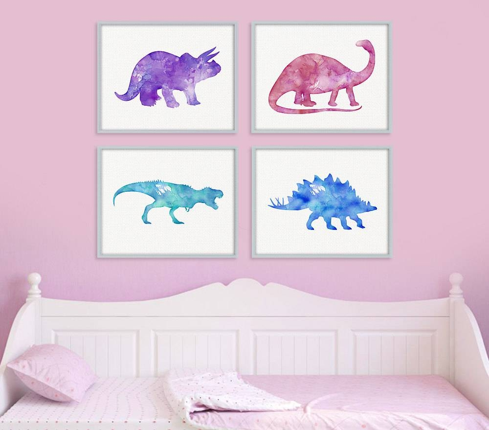 Dinosaur Print Set Girls Room Decor Girls Wall Art Baby Within Newest Wall Art For Girls (View 8 of 20)