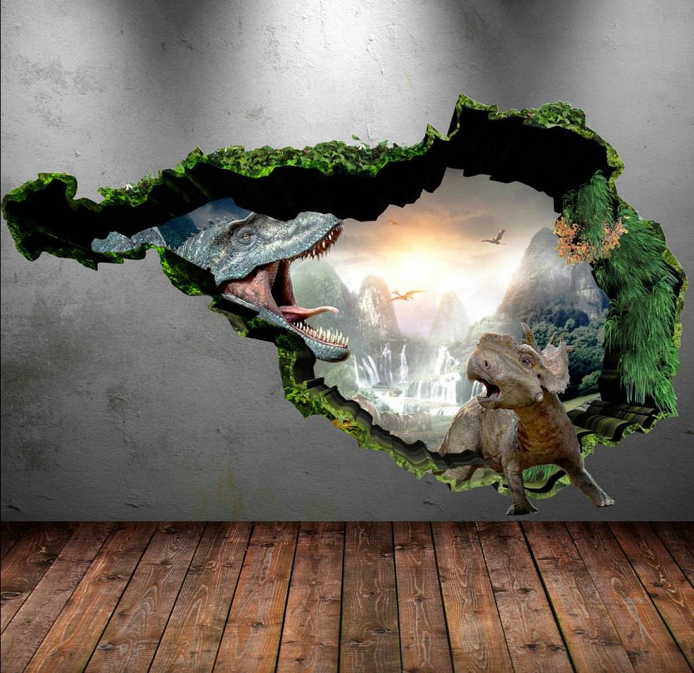 Dinosaur Wall Decal Wall Stickers Full Colour 3d Dinosaur For Most Recent Dinosaurs 3d Wall Art (View 2 of 20)
