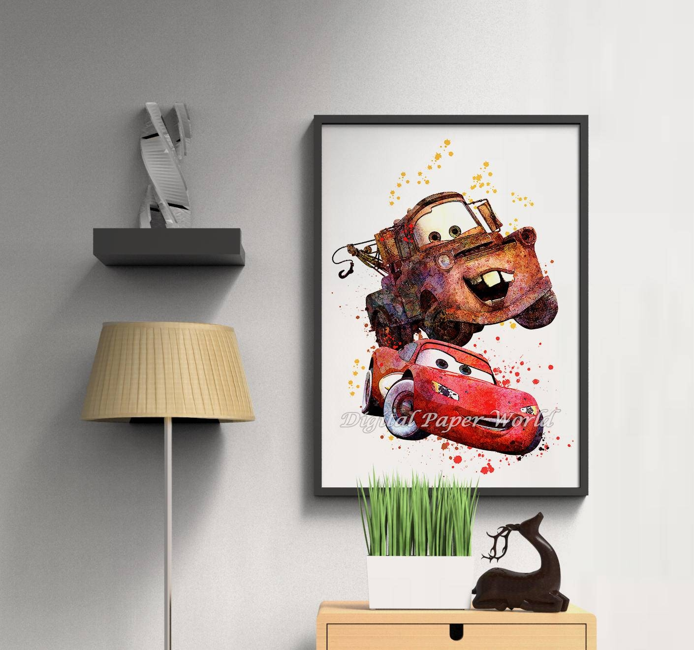 Disney Cars Print Instant Download Lightning Mcqueen Digital Throughout 2018 Lightning Mcqueen Wall Art (View 7 of 20)