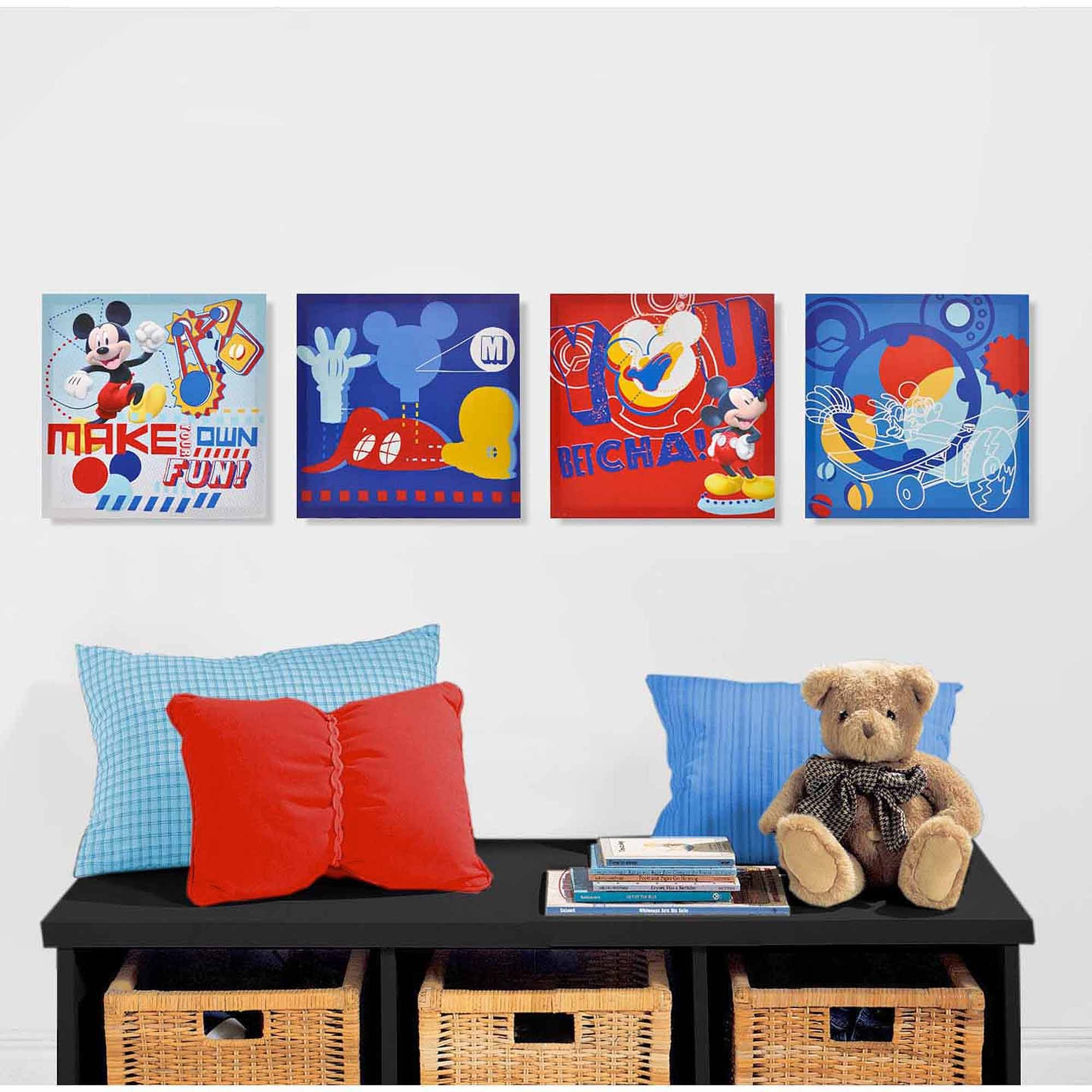 Disney Mickey Mouse 4 Piece Canvas Wall Art – Walmart Intended For Newest Mickey Mouse Clubhouse Wall Art (View 3 of 20)