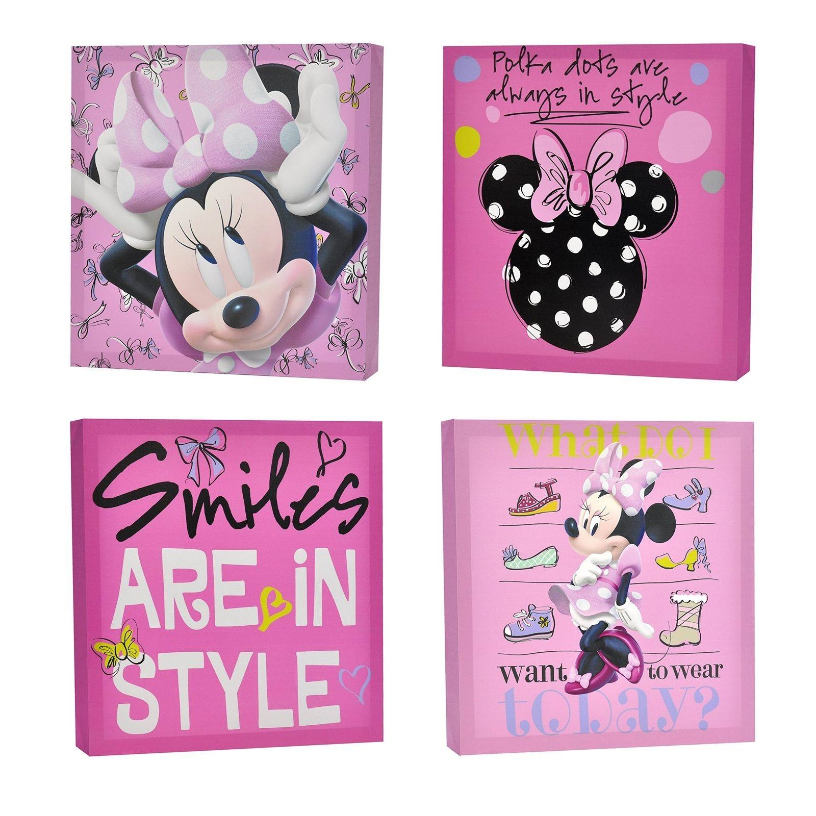 Disney Minnie Mouse Canvas Wall Art 4Piece No Assembly Required With Most Recently Released Disney Canvas Wall Art (View 9 of 20)