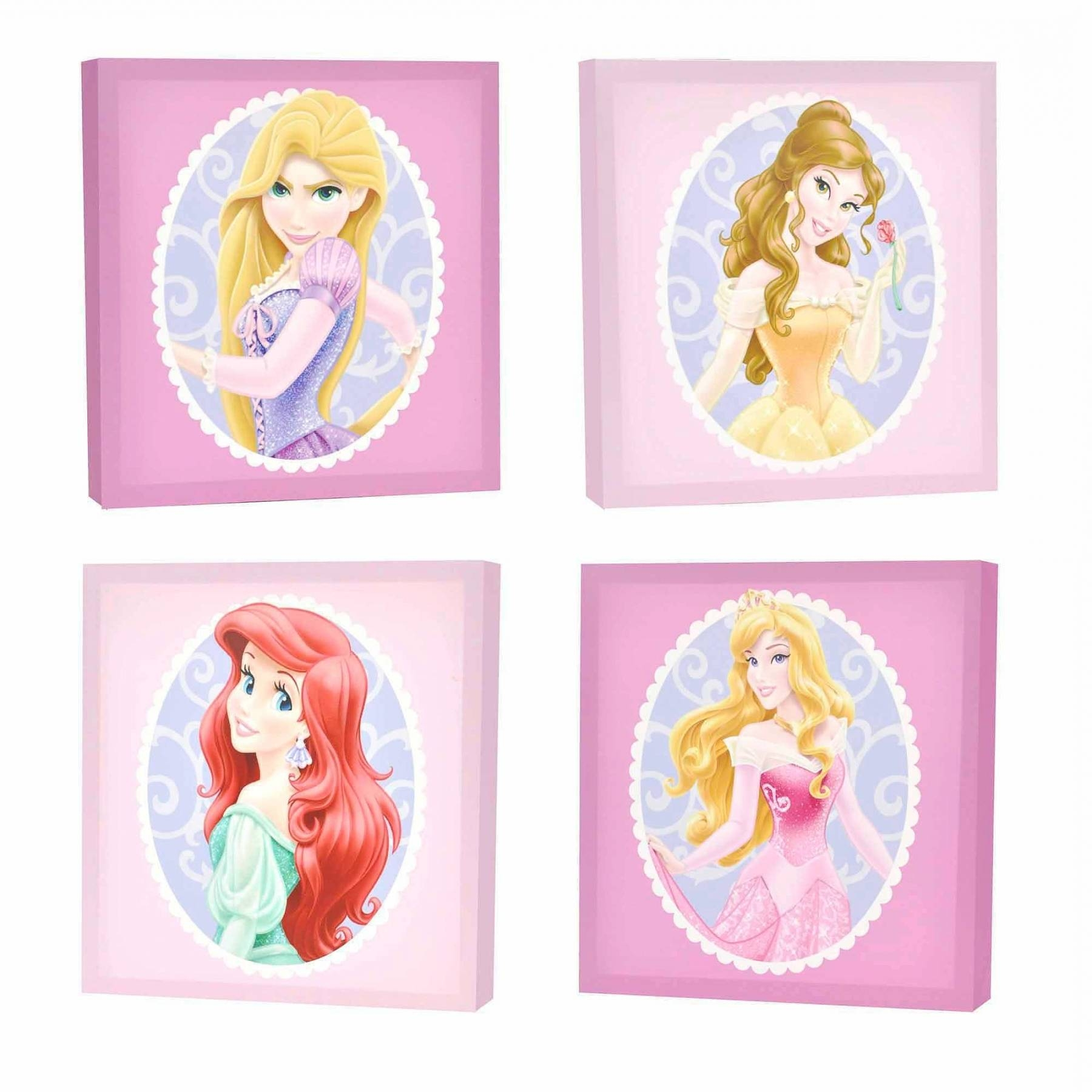 Disney Princess 4 Pack Canvas Wall Art U2013 Walmart Throughout First Inside  Most Recent Princess Canvas