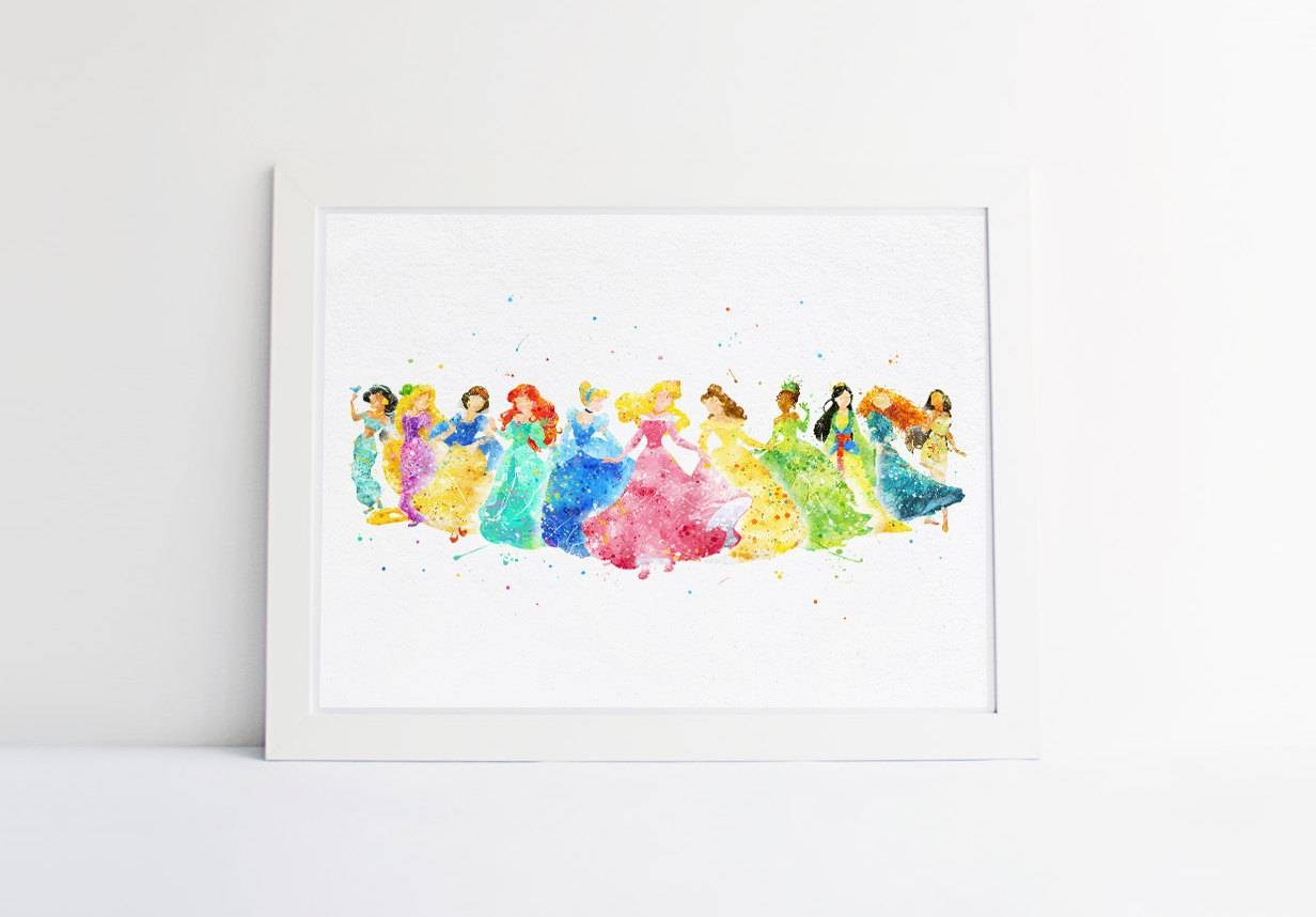 Disney Princess Collection Disney Watercolor Nursery Princess Throughout Most Up To Date Disney Princess Wall Art (View 11 of 20)