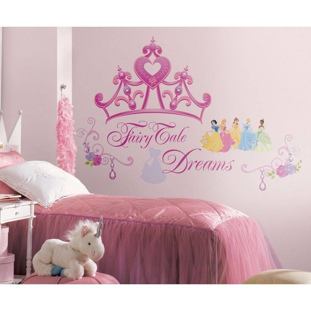 Disney Princess Crown Wall Mural Stickers Girls Pink Tiara Decals Pertaining To Most Popular Disney Princess Wall Art (View 9 of 20)