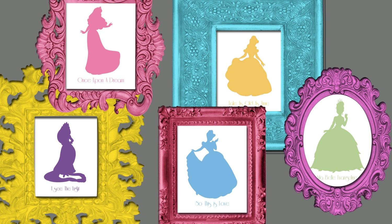 Disney Princess Silhouette Wall Art 12 8x10 Prints With Song Throughout 2017 Disney Princess Wall Art (View 7 of 20)