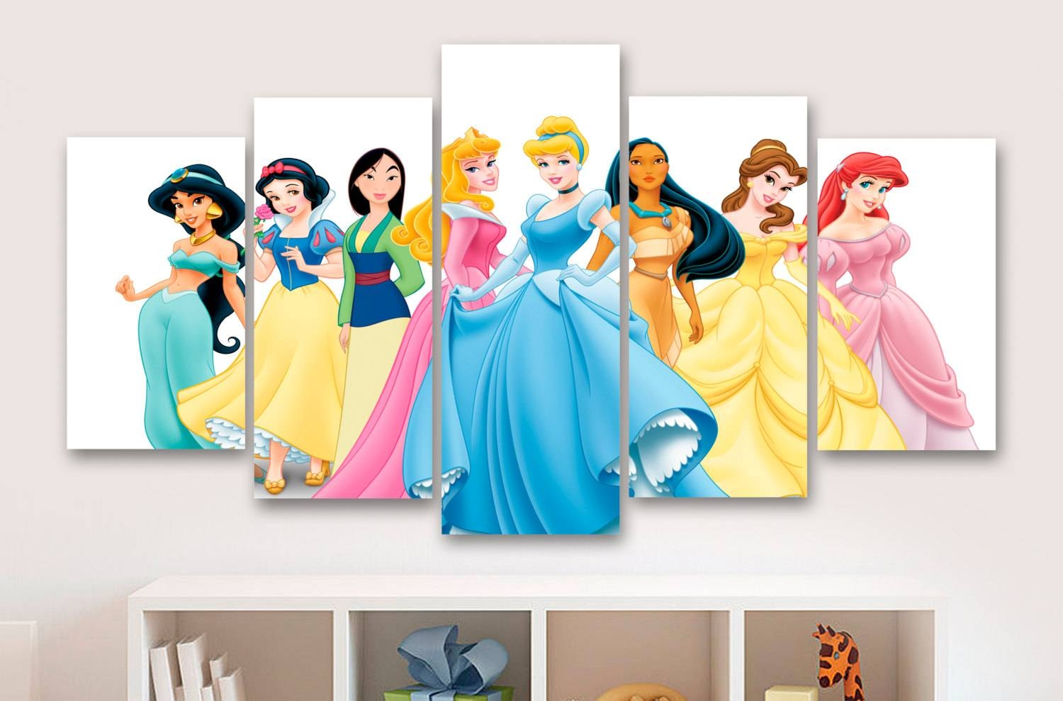 Disney Princesses 5 Panel / Piece Canvas Wall Art Office Throughout Current Disney Canvas Wall Art (View 10 of 20)