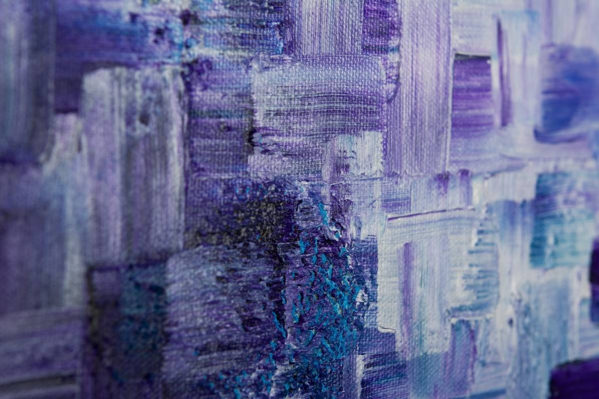 """Dissolvingqiqigallery 36""""x24"""" Stretched Canvas Original Large Regarding Most Up To Date Purple Abstract Wall Art (View 17 of 20)"""