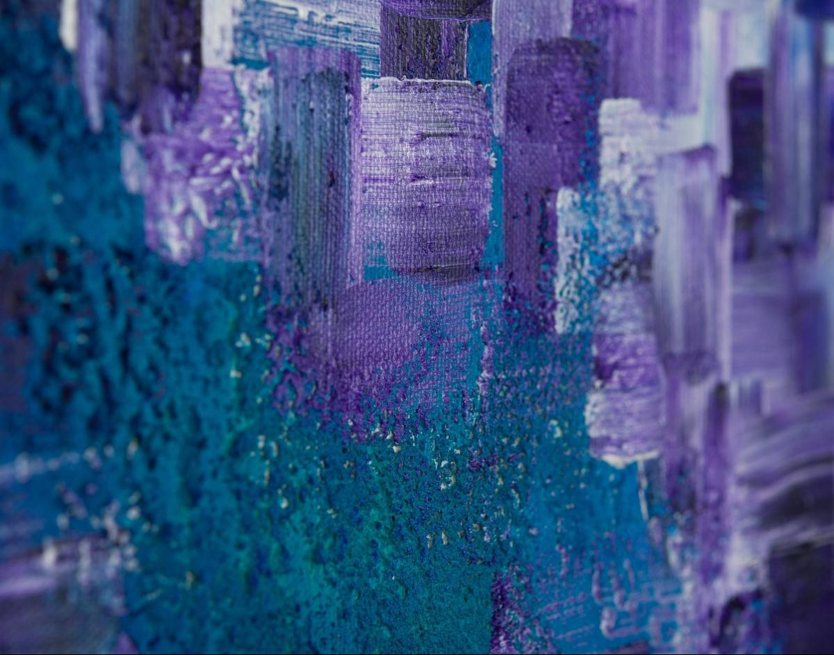 "Dissolvingqiqigallery 36""x24"" Stretched Canvas Original Large With Latest Purple Abstract Wall Art (View 8 of 20)"