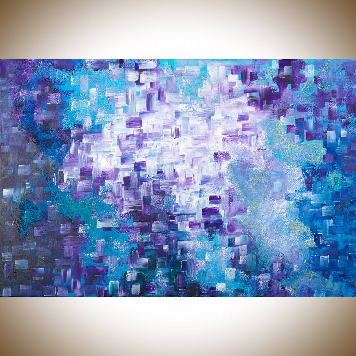 """Dissolvingqiqigallery 36""""x24"""" Stretched Canvas Original Large Within 2018 Purple Abstract Wall Art (View 5 of 20)"""