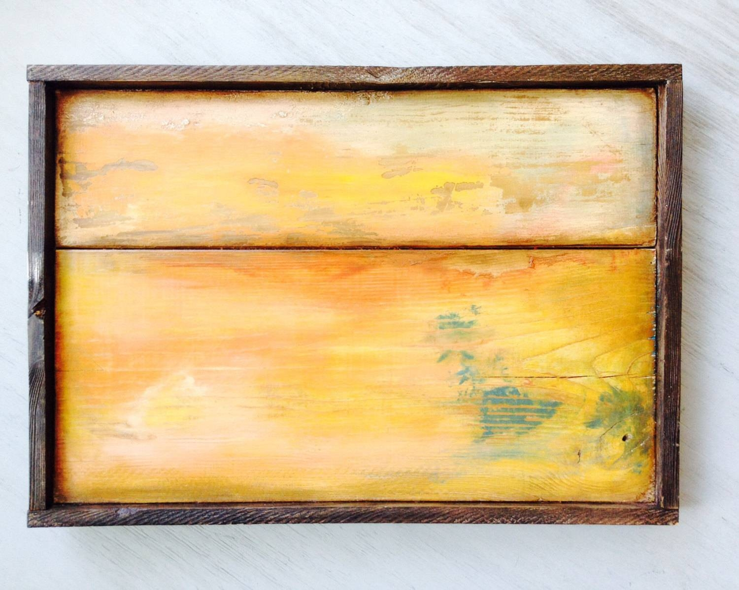 Distressed Wood Boards Reclaimed Wood Wall Art Solid Wood Inside Most Current Yellow And Blue Wall Art (View 3 of 20)