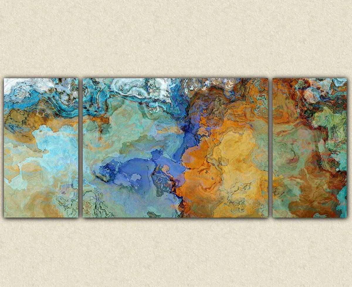 Diverting Abstract Painting Blue Green Grey Original Abstact Art With Recent Turquoise And Brown Wall Art (View 7 of 25)