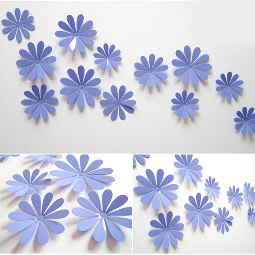 Diy 3d Flowers Wall Sticker Mirror Art Decal Pvc Paper For Home In Newest Flowers 3d Wall Art (View 8 of 20)