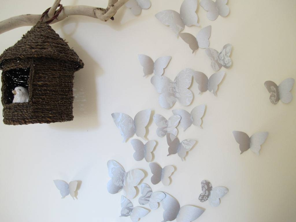 Diy 3D Paper Butterfly Wall Art | Wallartideas Within Most Current Diy 3D Butterfly Wall Art (View 12 of 20)