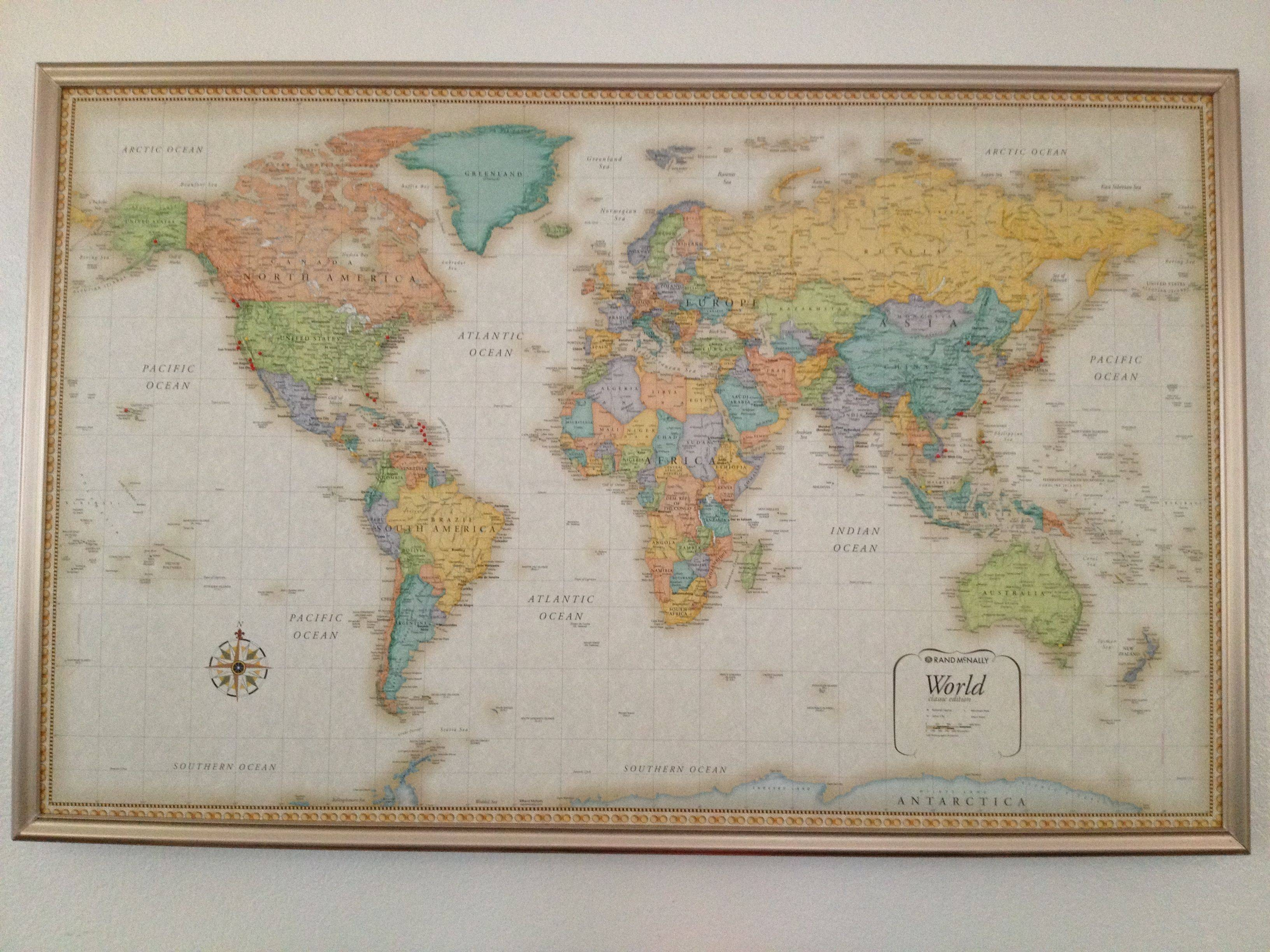 Diy Framed World Map With Pins | Hamonious Pertaining To Current Framed World Map Wall Art (View 5 of 20)