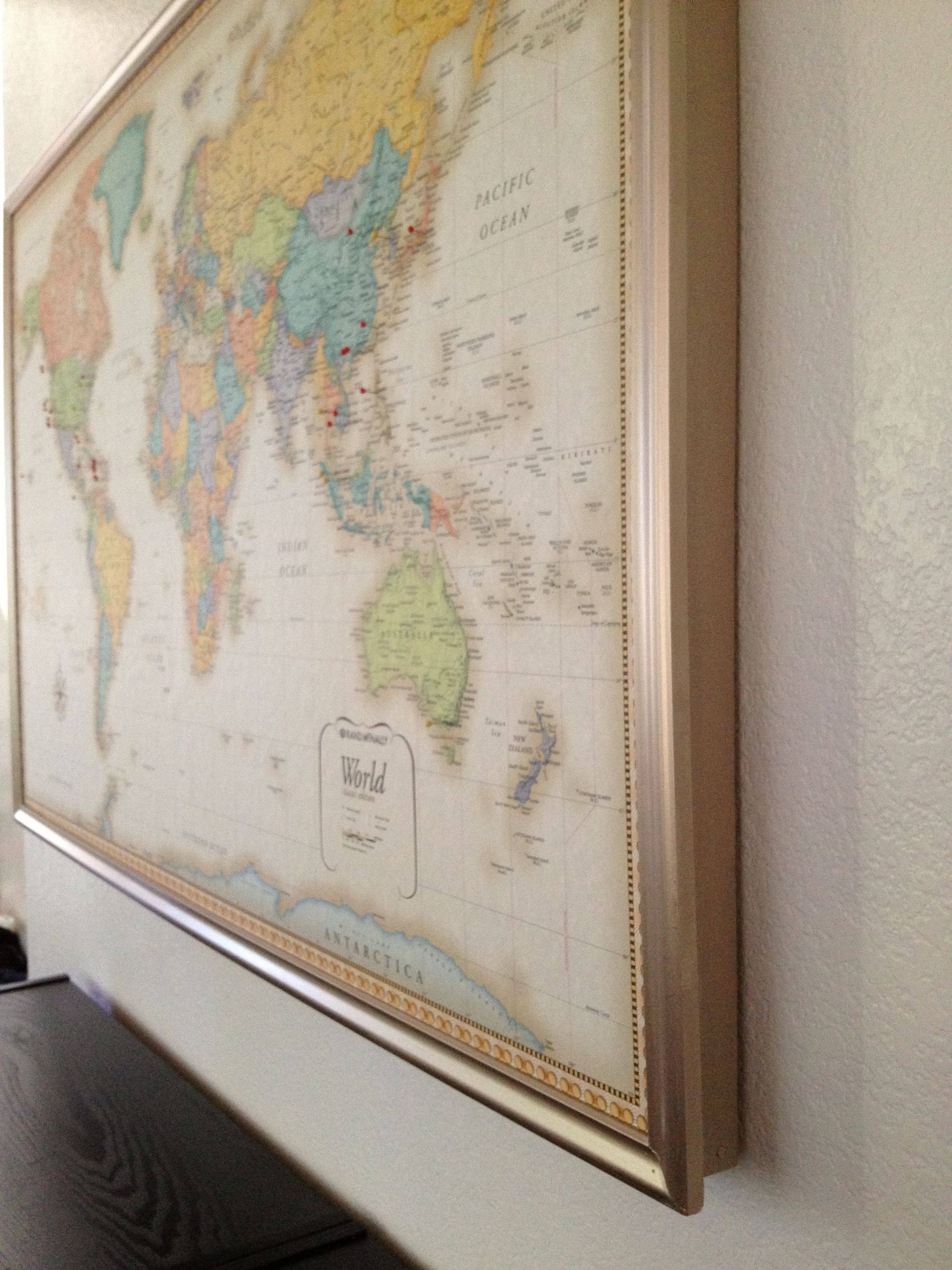 Diy Framed World Map With Pins Hamonious Within – Besttabletfor With Regard To Current Framed World Map Wall Art (View 4 of 20)