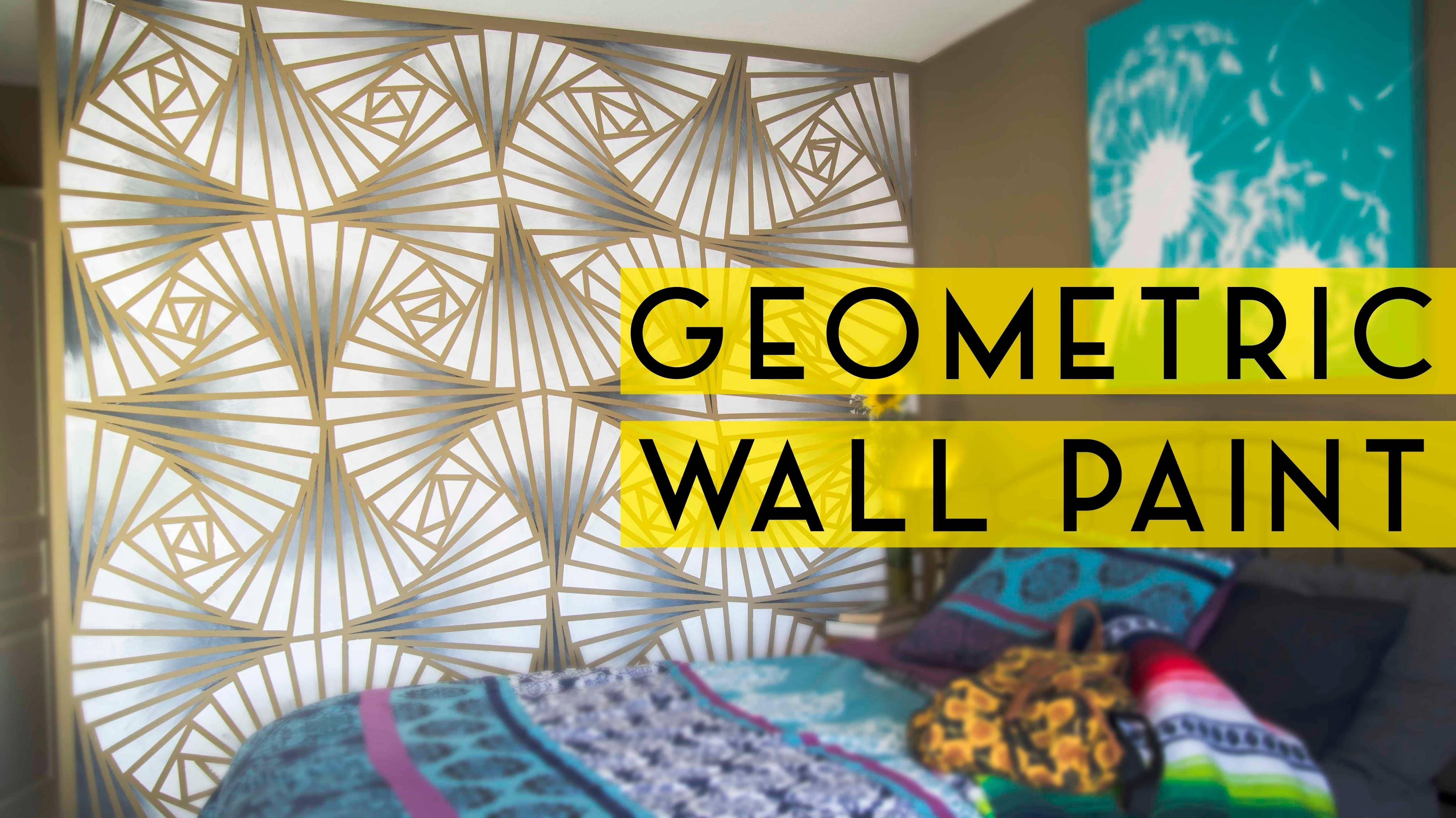 Diy Geometric Wall Paint – Youtube Intended For Recent Do It Yourself 3D Wall Art (View 10 of 20)