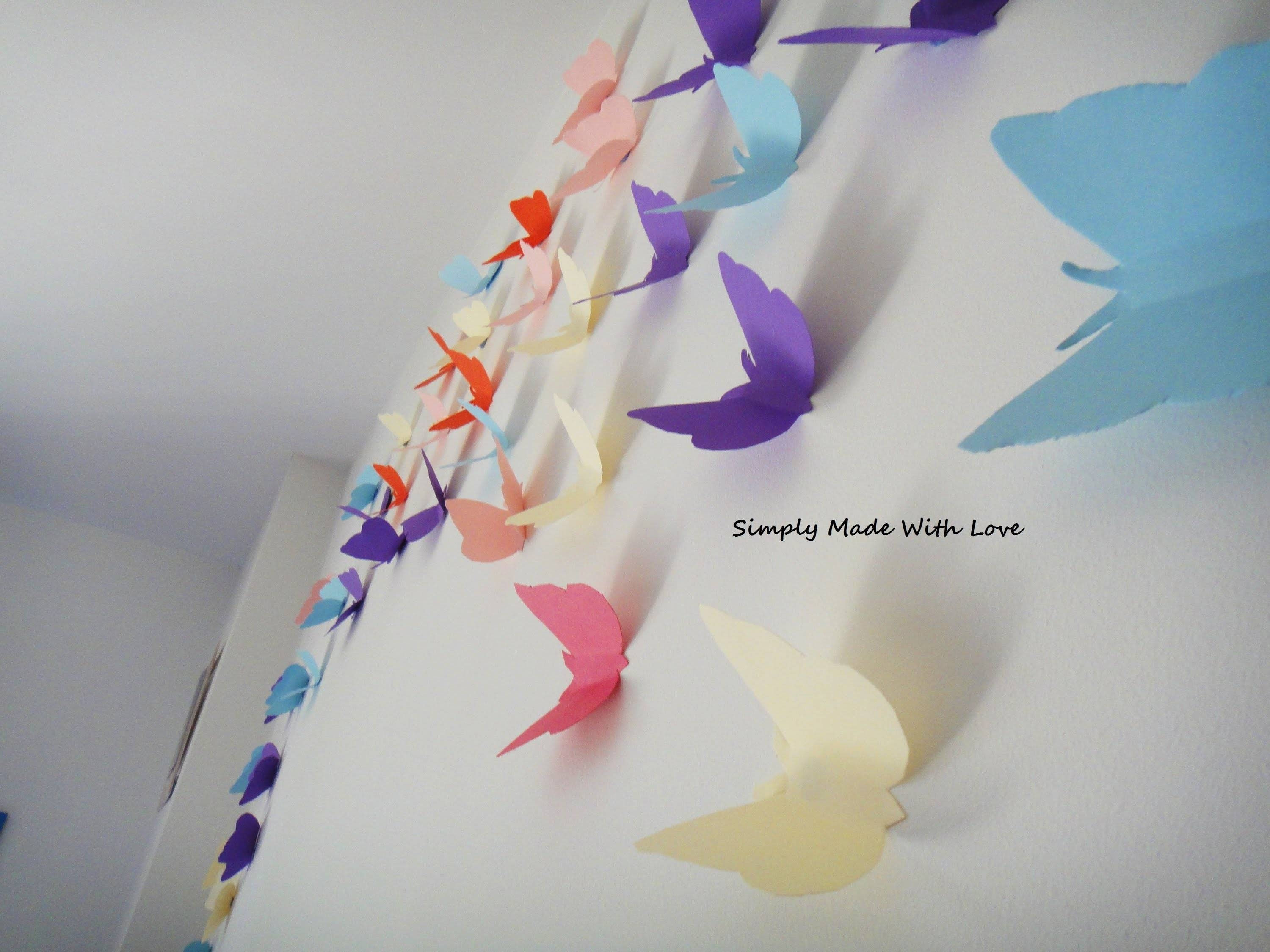 Diy How To Make Beautiful, Cheap And Easy, 3D Wall Decoration With Throughout Recent Diy 3D Wall Art Butterflies (View 8 of 20)