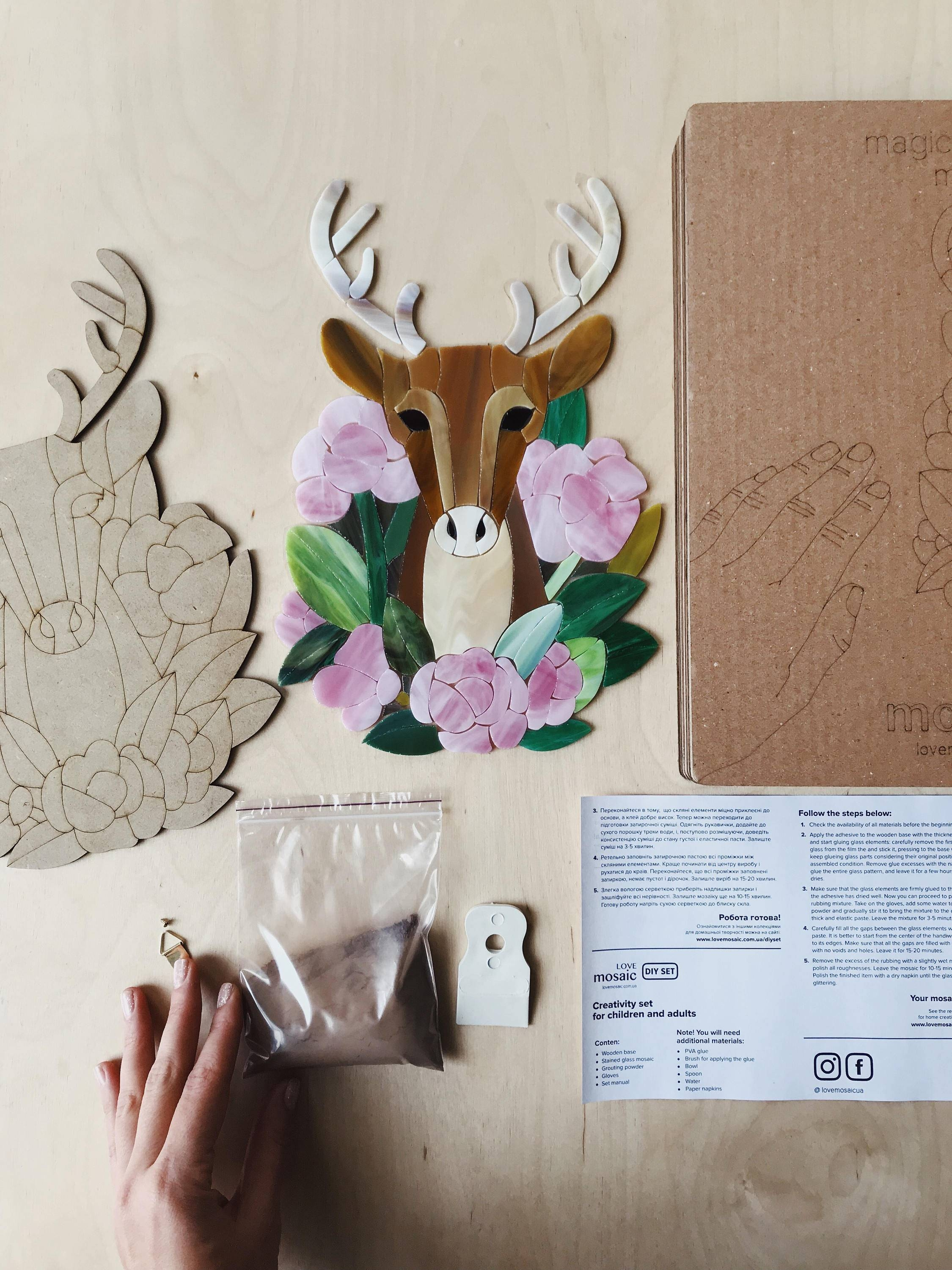 Diy Kit Deer Art Kit Diy Stained Glass Mosaic Wall Art Teacher Intended For Most Popular Mosaic Wall Art Kits (View 19 of 20)