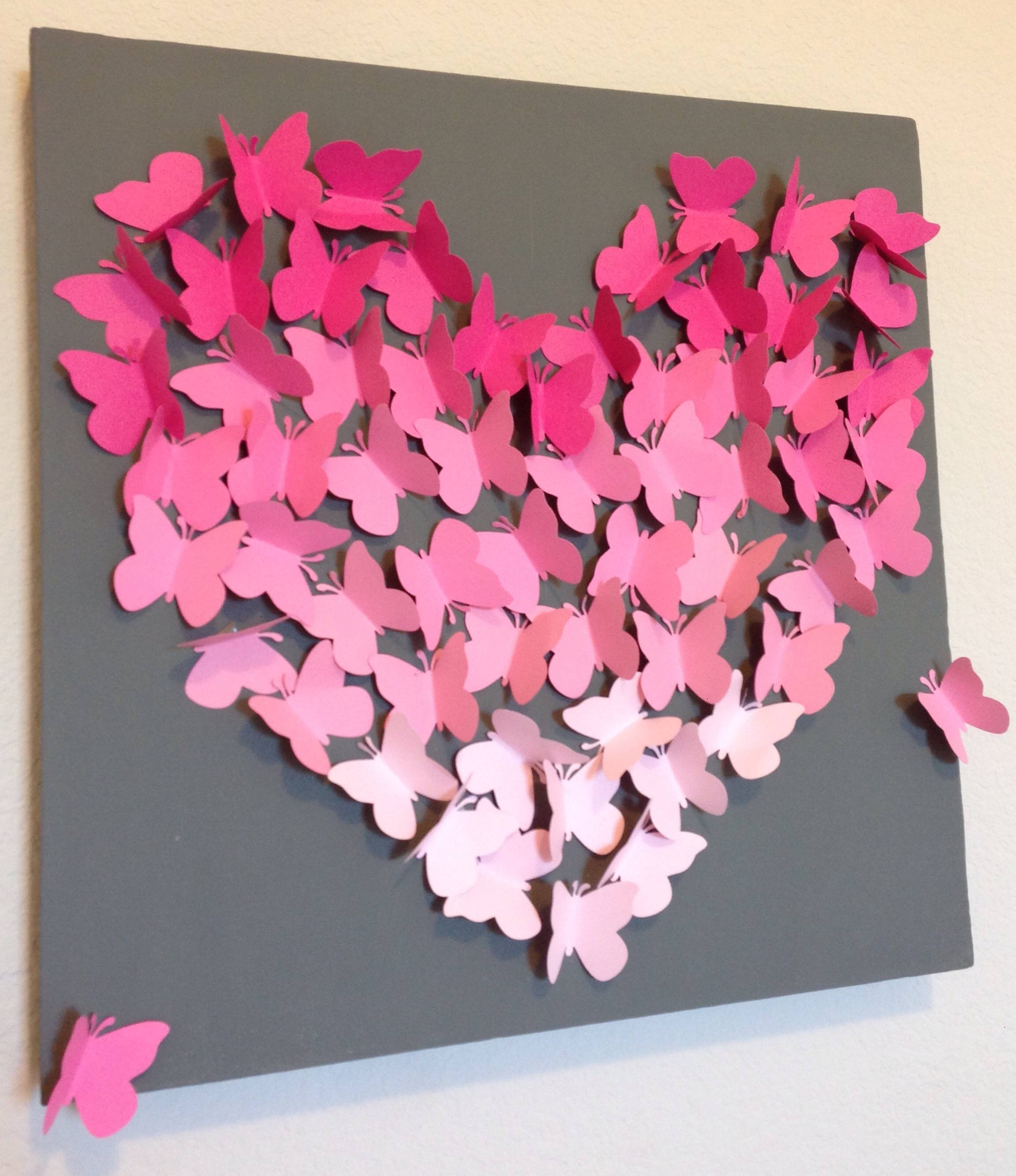 Diy Ombre Butterfly Wall Art Inside Most Current Butterfly Canvas Wall Art (View 11 of 20)