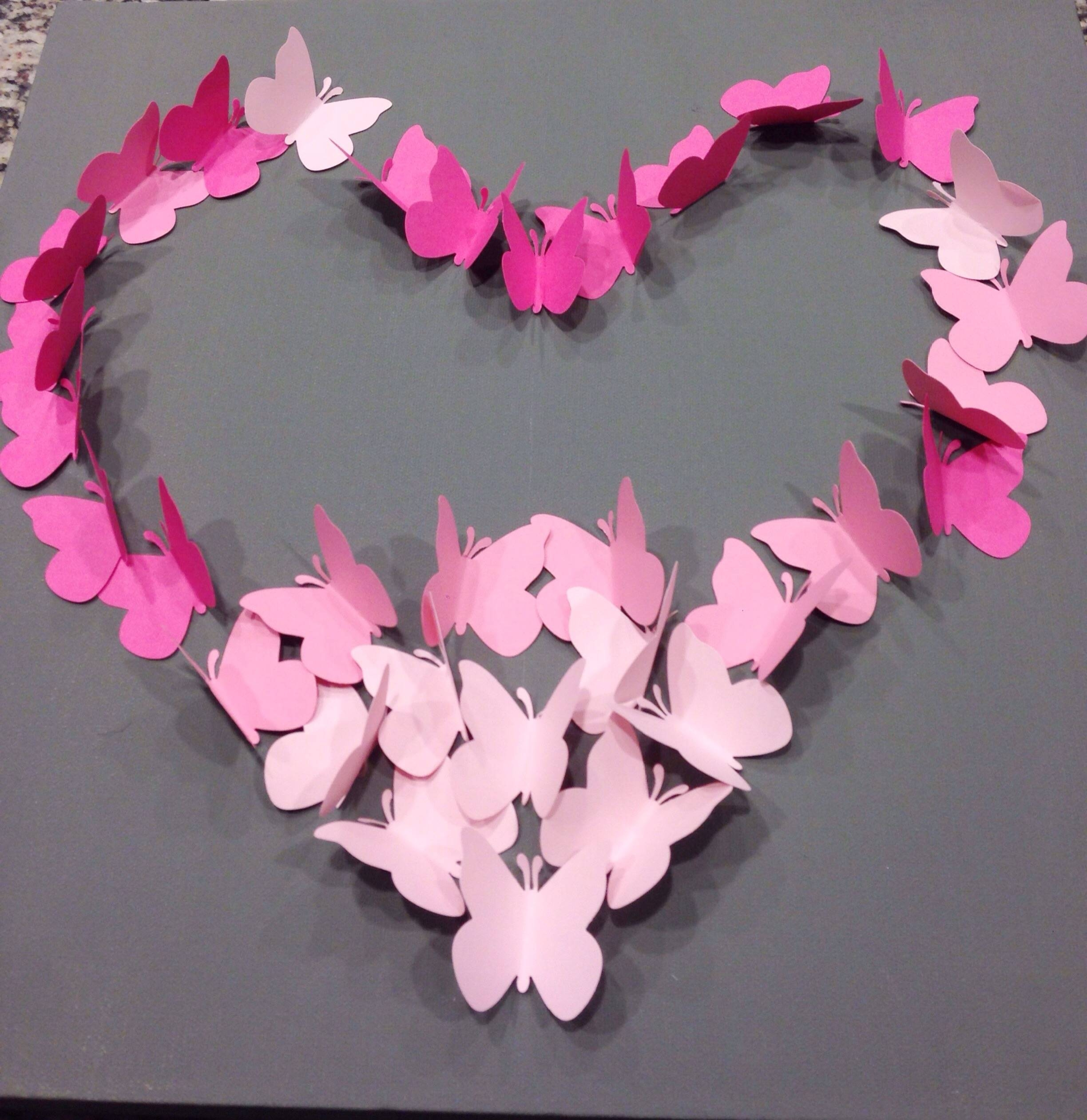 Diy Ombre Butterfly Wall Art Within Most Current Pink Butterfly Wall Art (View 17 of 20)