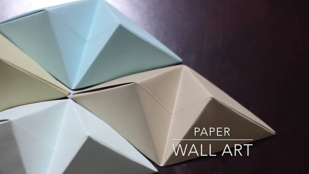 Diy – Origami Wall Art – Youtube For Most Recently Released 3d Triangle Wall Art (View 5 of 20)