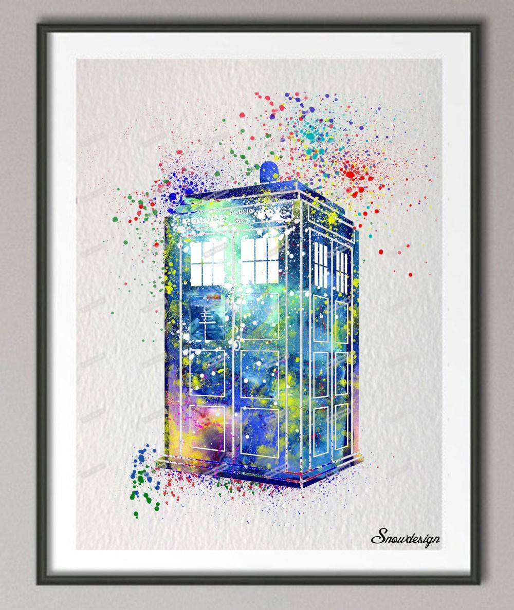 Diy Original Watercolor Doctor Who Tardis Wall Art Canvas Painting Inside Most Recently Released Doctor Who Wall Art (View 12 of 33)