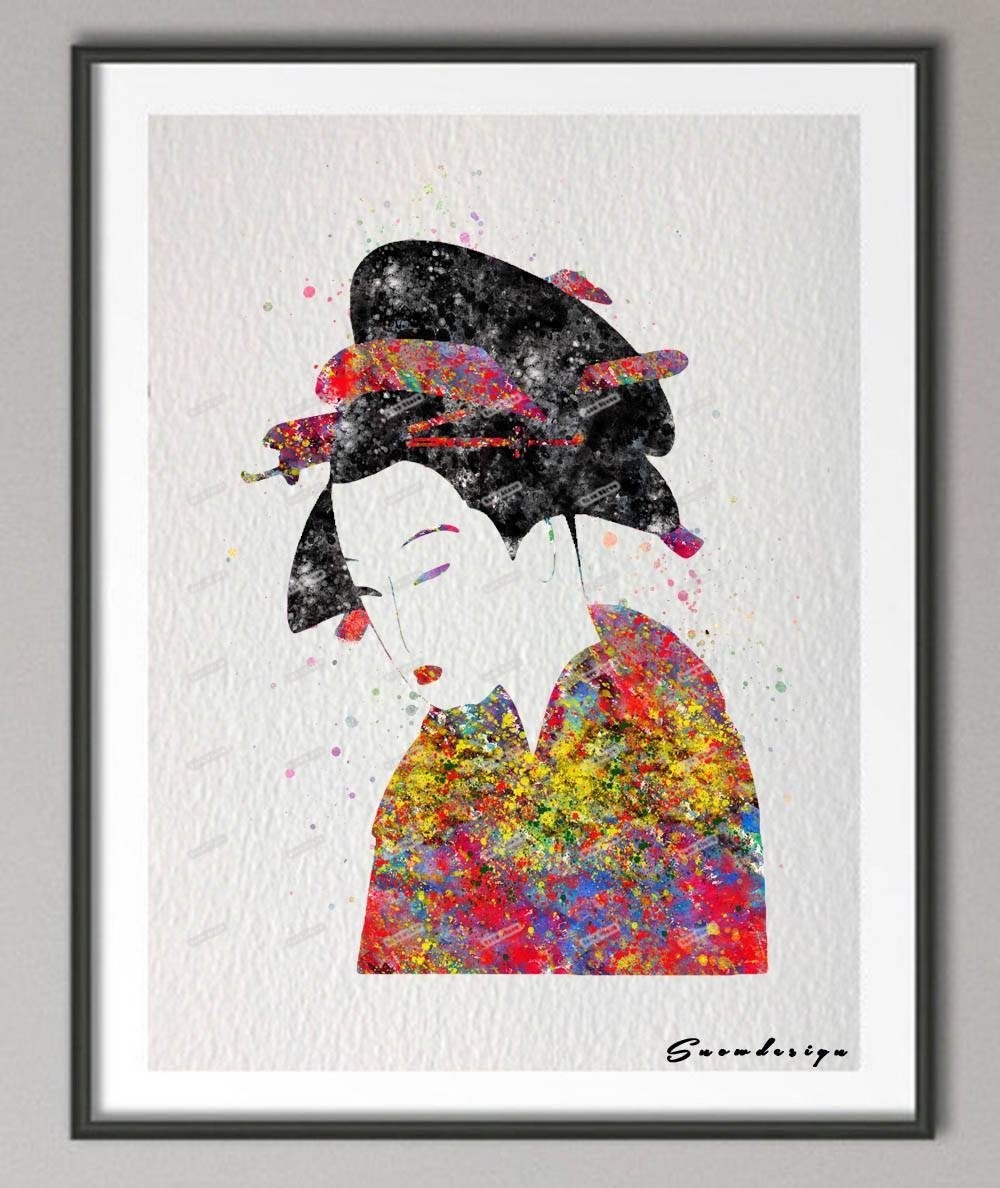 Diy Original Watercolor Japanese Geisha Modern Wall Art Canvas Throughout Most Recently Released Geisha Canvas Wall Art (View 7 of 20)