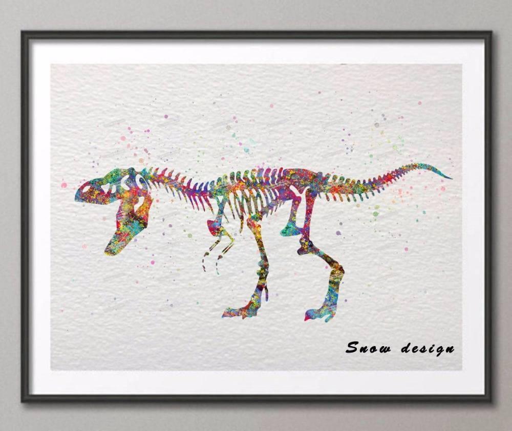 Diy Original Watercolor Skull Dinosaur Wall Art Canvas Painting With Most Popular Dinosaur Canvas Wall Art (View 14 of 15)