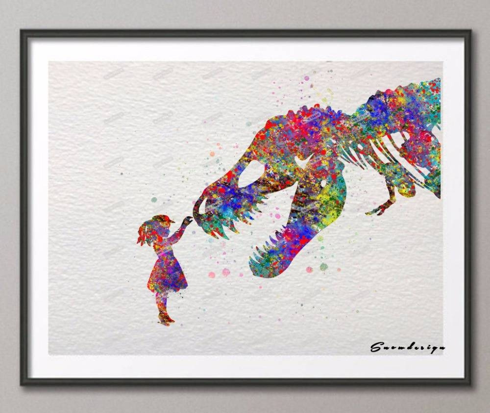 Diy Original Watercolor Trex Dinosaur With Girl Poster Prints Regarding Most Recently Released Dinosaur Wall Art For Kids (View 15 of 20)