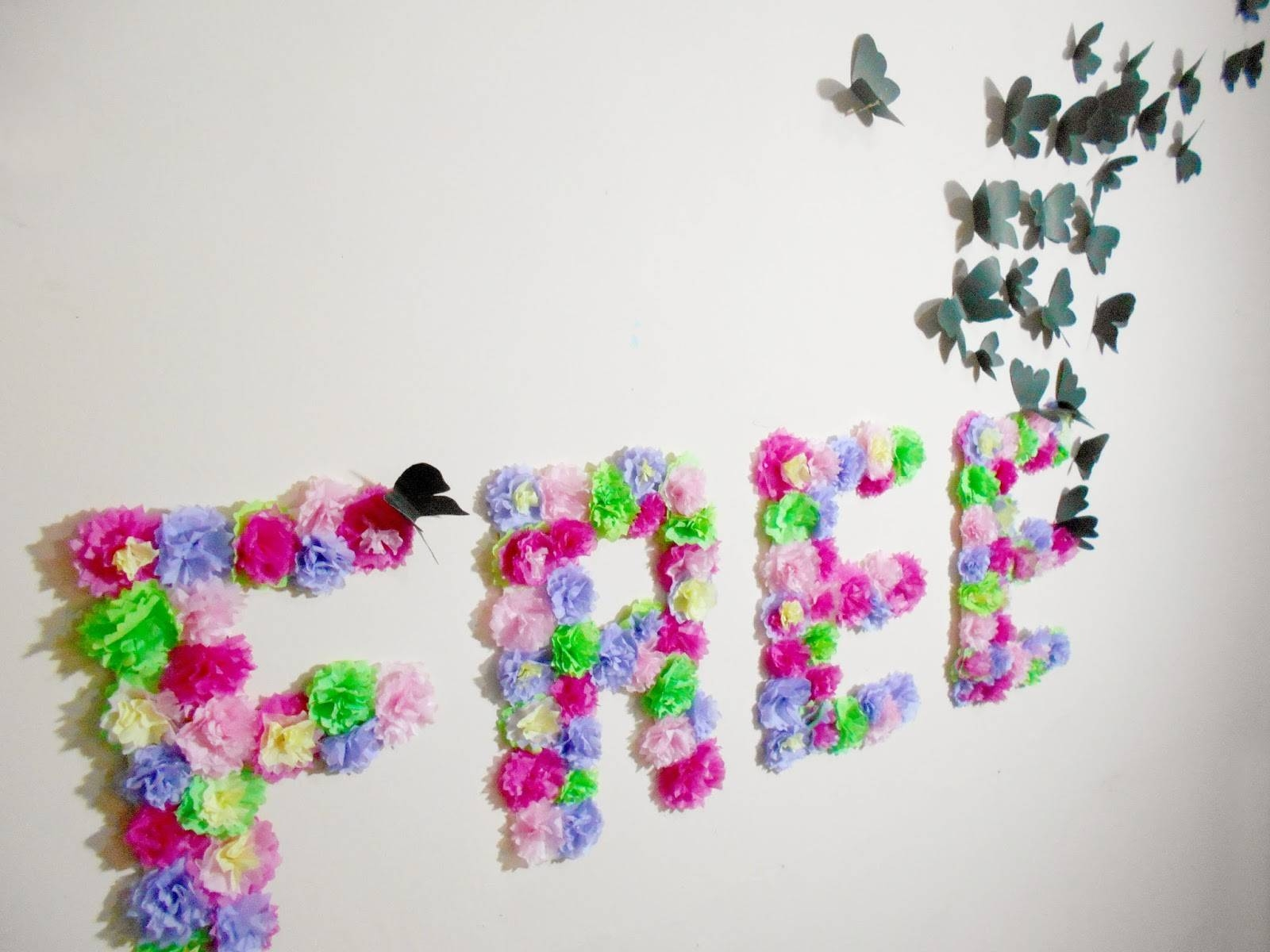 Diy Paper Flowers And Butterflies Wall Art | Room Decoration Idea With Regard To Newest Ceramic Butterfly Wall Art (View 22 of 30)