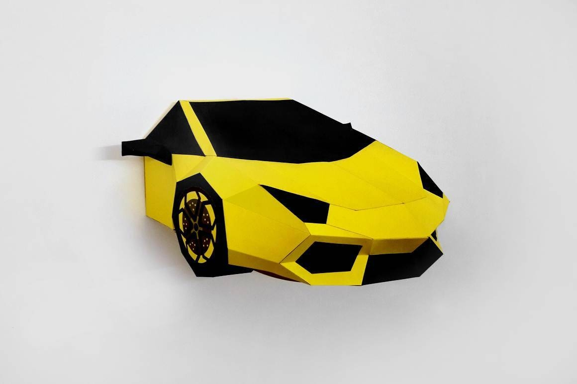 Diy Papercraftsyellow Sports Carprintable Carpaper Carwall Inside Most Recently Released Cars 3D Wall Art (View 12 of 20)