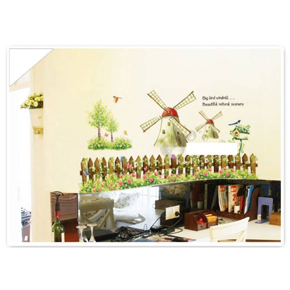 Diy Removable Cartoon Windmill Wall Decal Wallpaper Country Style Inside Latest Country Style Wall Art (View 13 of 30)