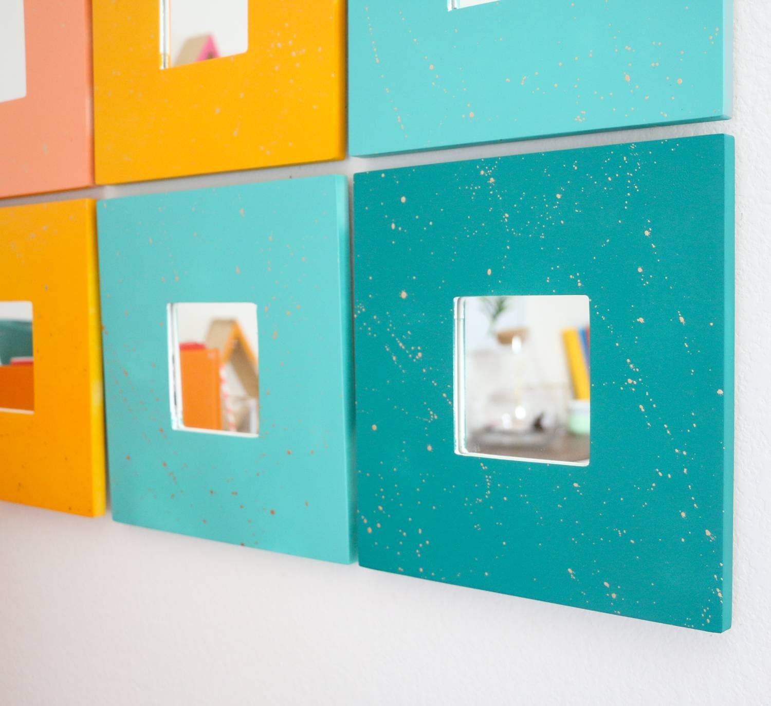 Diy Splatter Painted Mirror Wall Art – A Beautiful Mess Intended For Current Orange And Turquoise Wall Art (View 13 of 20)