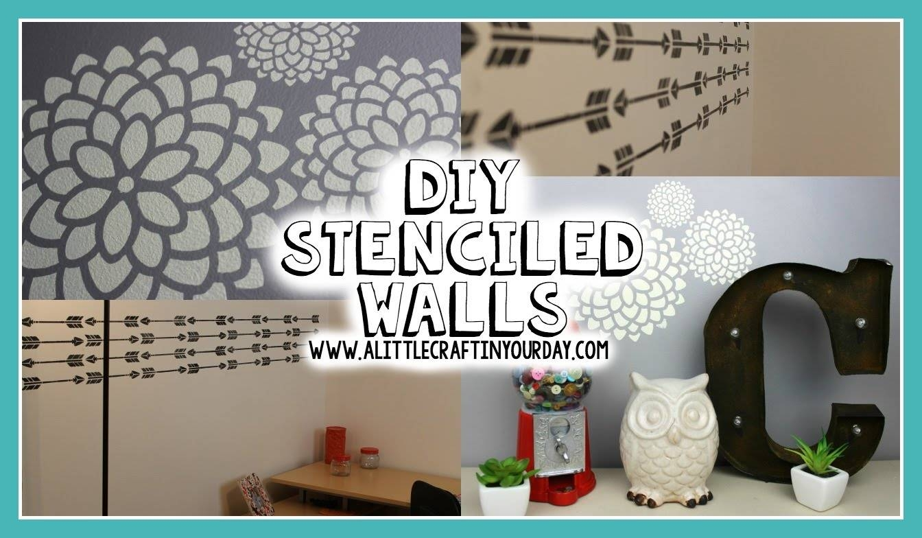 Diy Stenciled Wall | Easy Diy & Teen Room Decor – Youtube Throughout Recent Wall Art For Teenagers (View 11 of 25)