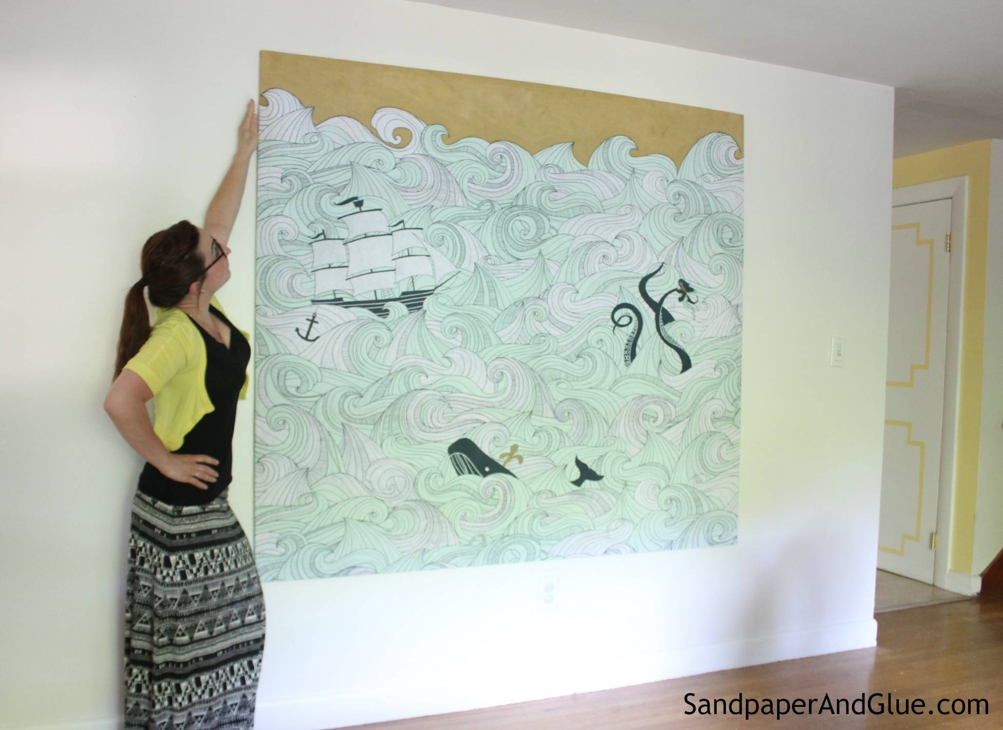 Diy Stretched Fabric Canvas (With A Shower Curtain!) | Stephanie With Most Popular Stretched Fabric Wall Art (View 10 of 20)