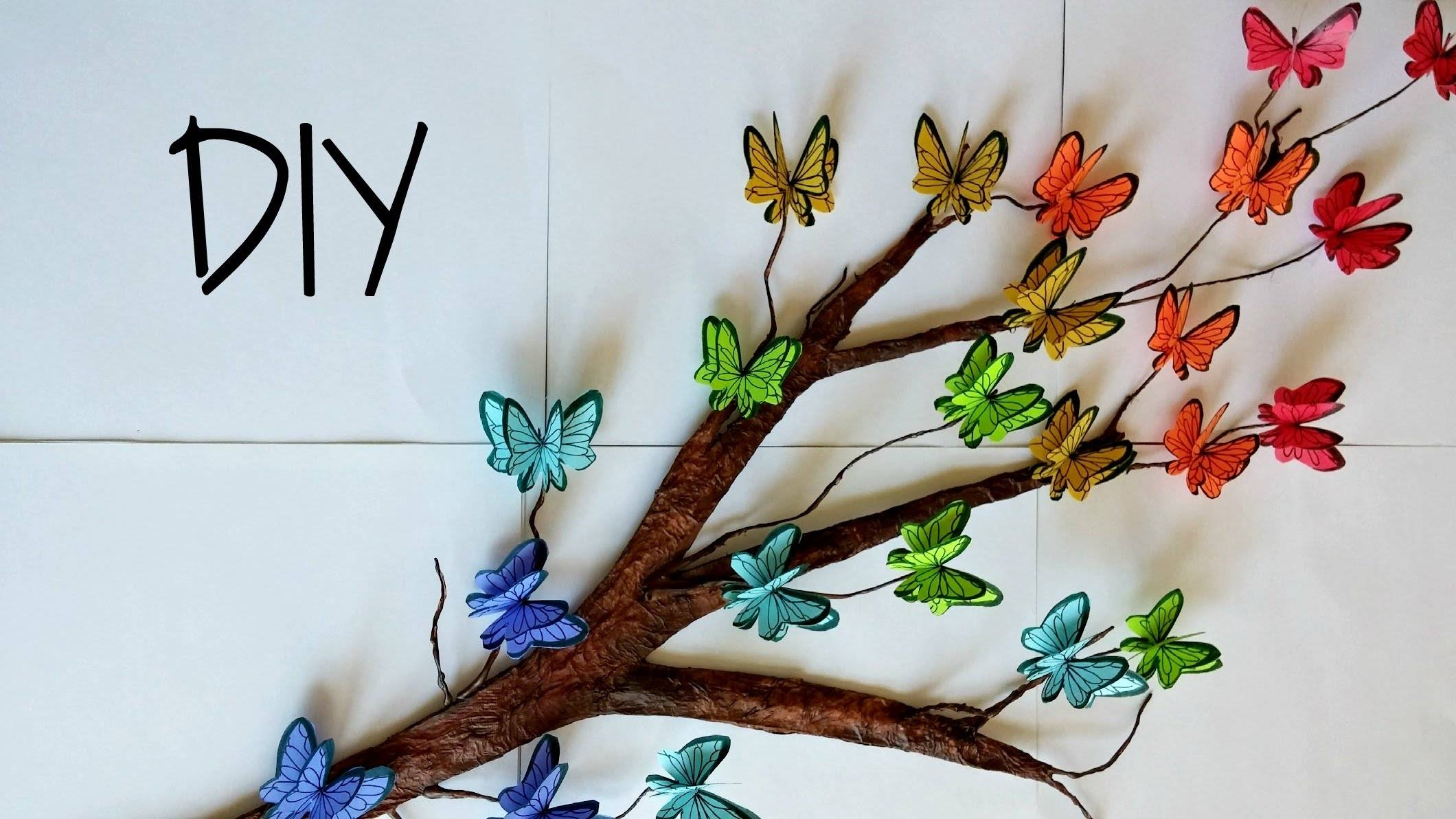 Diy Tree Branch + 3D Butterflies ? // Room Decor – Youtube Intended For Most Recently Released Diy 3D Wall Art Butterflies (View 10 of 20)